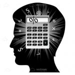 Silhouette of Man's Head with Calculator and Numbers